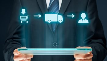 Logistics chain concept. From customer shopping (purchase) over transportation (delivery, cargo) to customer scheme.